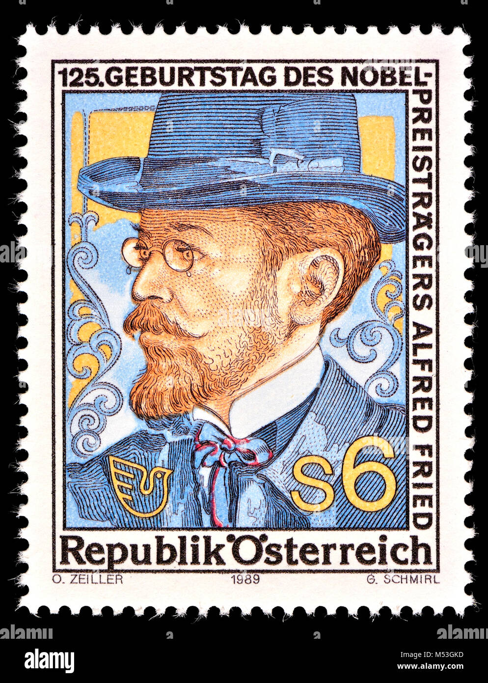 Austrian postage stamp (1989) Alfred Hermann Fried (1864 – 1921)  Austrian Jewish pacifist, publicist, journalist, - Stock Image