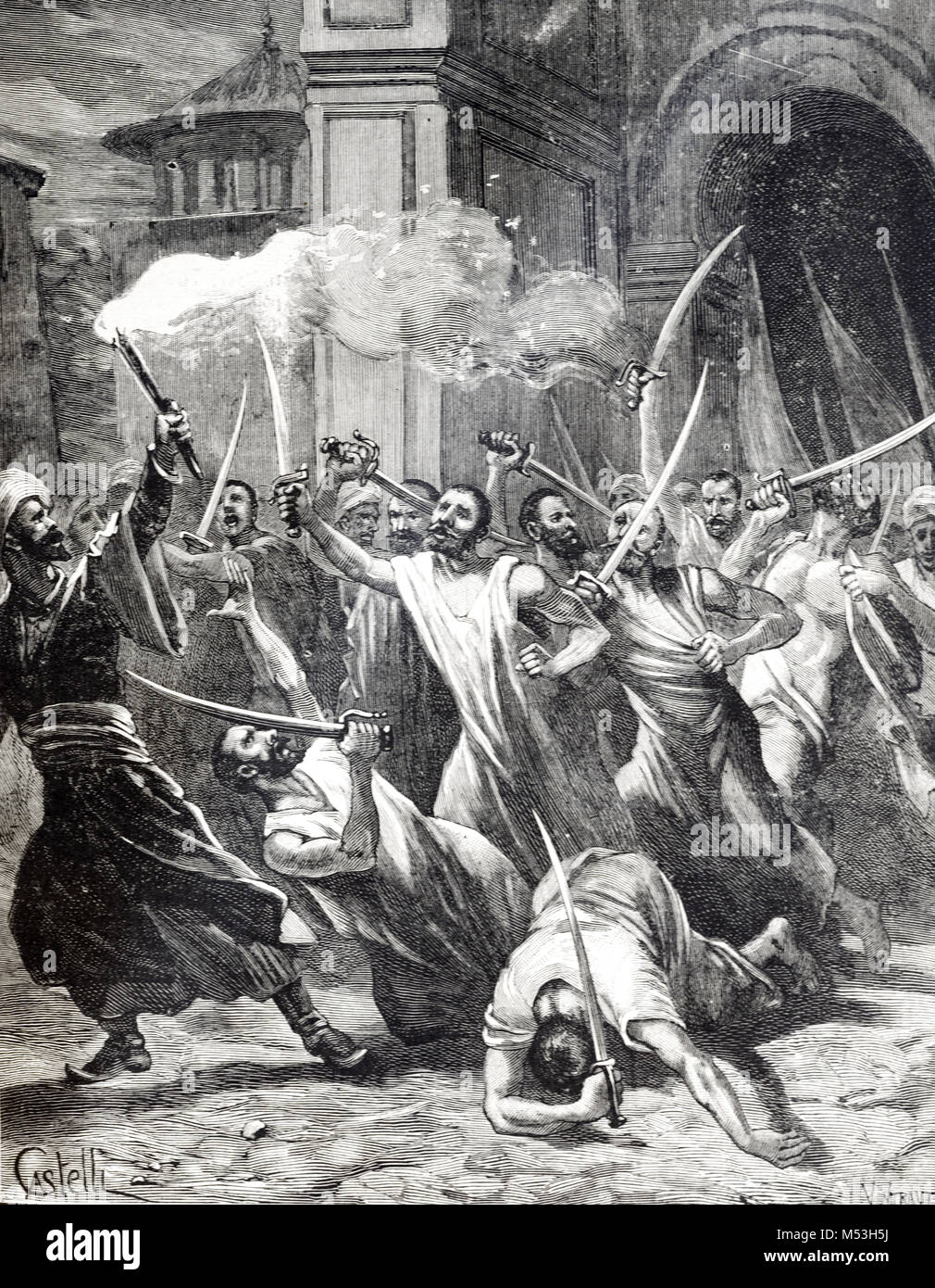 New Year Day Celebrations by Muslim Fanatics or Penitents Wielding Swords or Sabres, Persia or Iran (Engraving, - Stock Image
