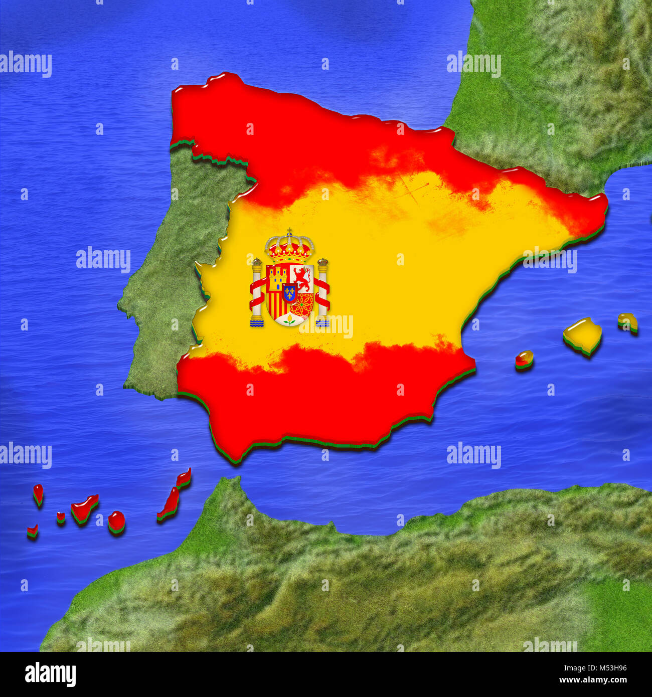 3d Map Of Spain.3d Map Of Spain Painted In The Colors Of Spanish Flag Surrounded By