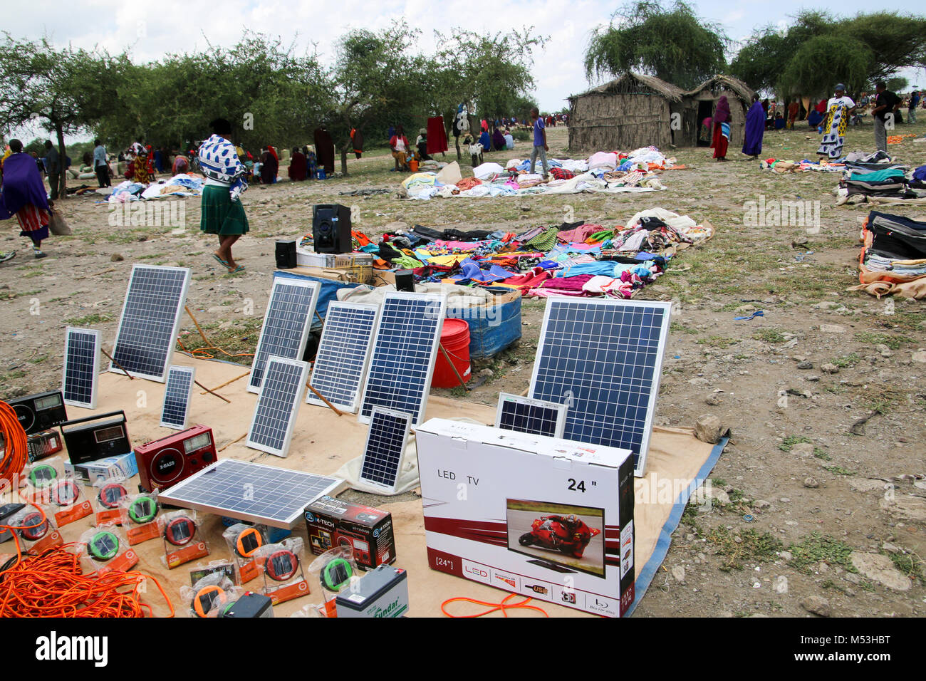 Solar panels for sale the the Massai Market, Tanzania - Stock Image