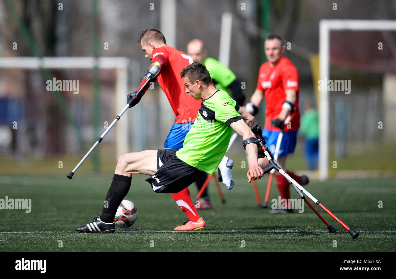 WARSAW, POLAND - APRIL 03, 2016: AMP Football Club cup Warsaw Poland 2016 n/z - Stock Image