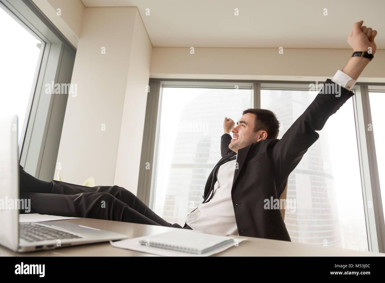 Entrepreneur taking short break during work day - Stock Image