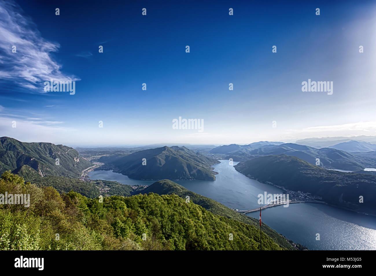 Lake view and mountains on Lugano, Switzerland. View point/ lake/mountains. Stock Photo