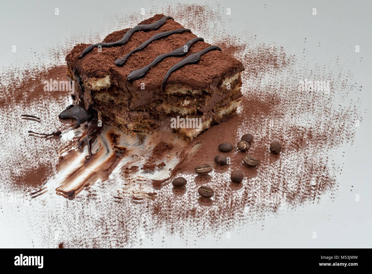 tiramisu dessert portion 2 - Stock Image