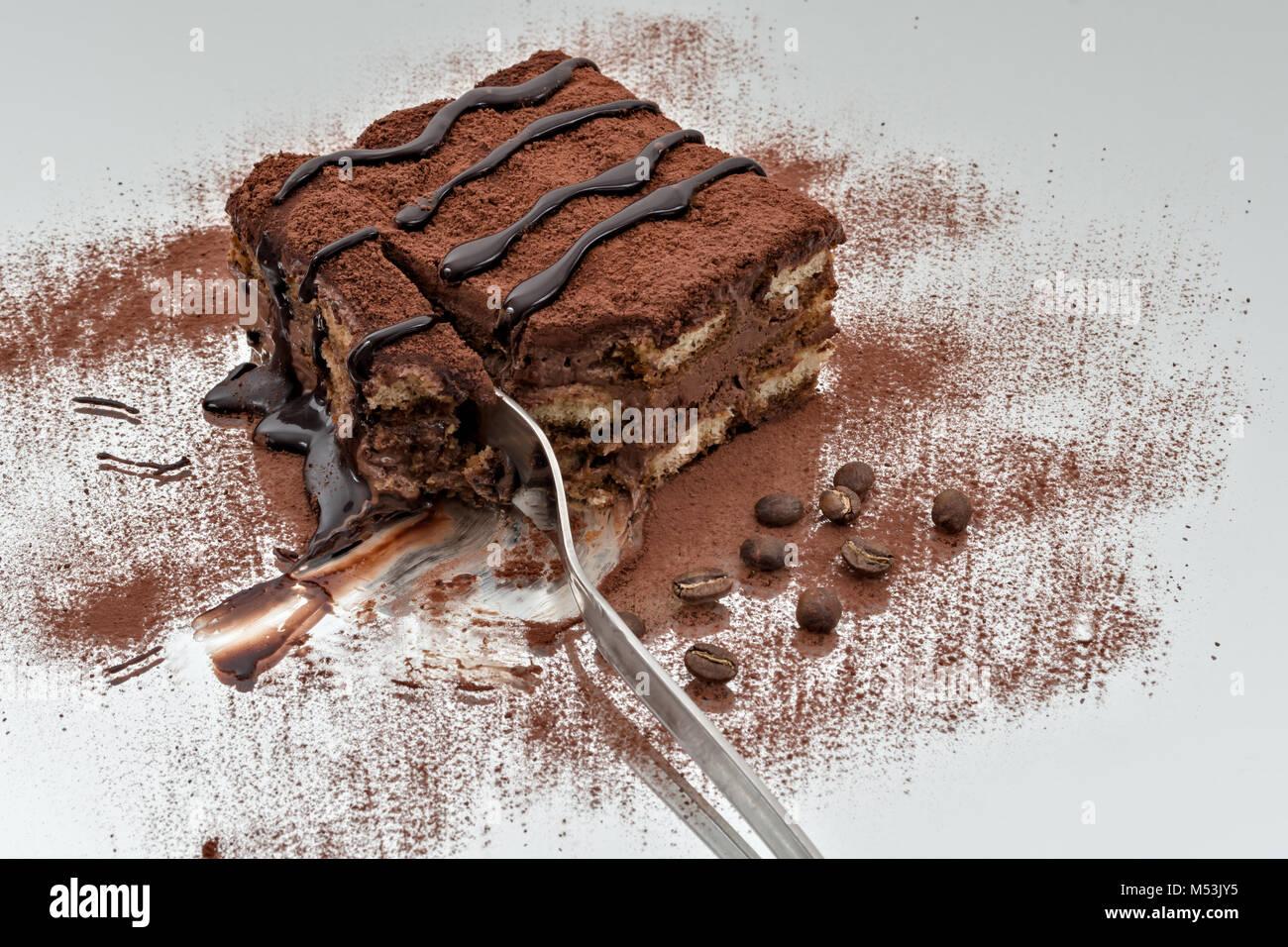 tiramisu dessert portion 5 - Stock Image
