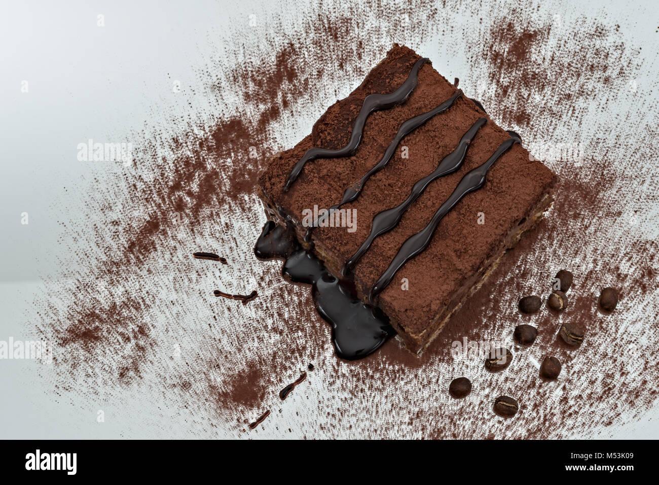 tiramisu dessert portion 8 - Stock Image