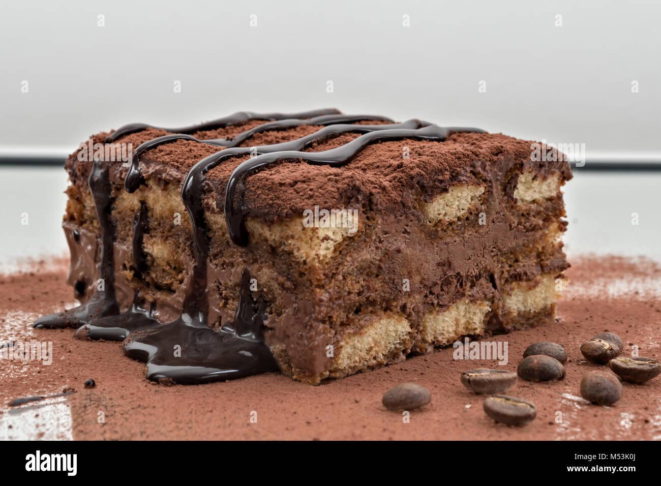 tiramisu dessert portion 9 - Stock Image