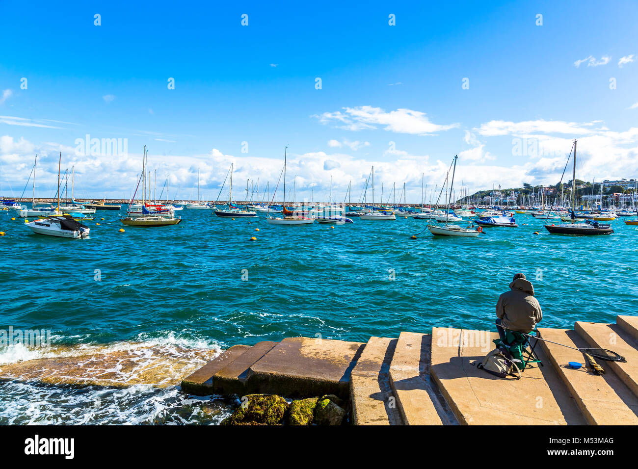 Yachts in harbour at Brixham, South Devon in the UK. Stock Photo