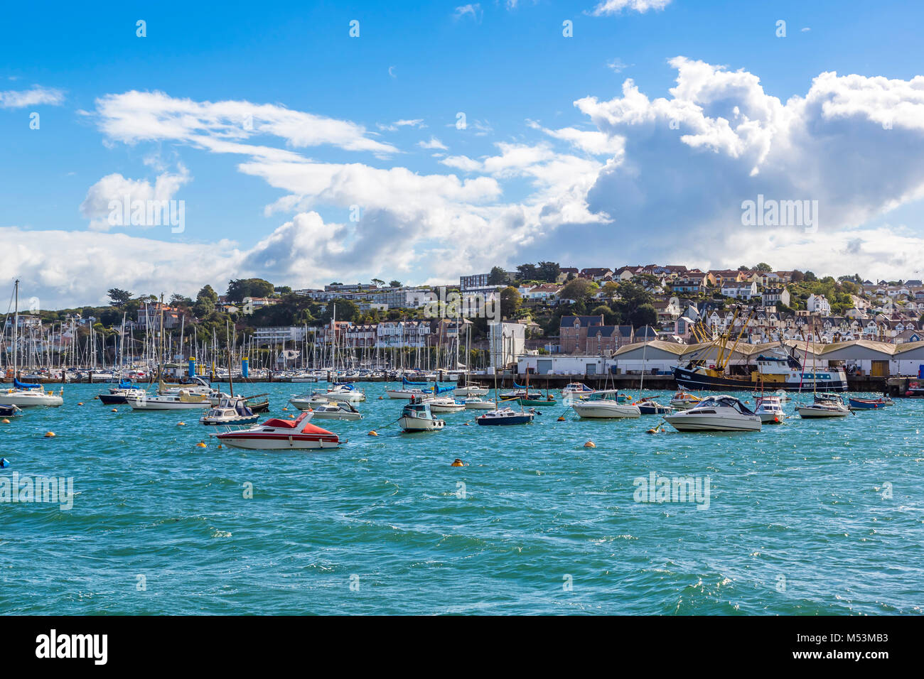 A view of Brixham harbour in South Devon, UK. - Stock Image