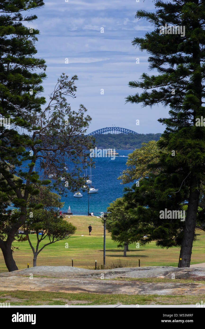 Sydney Harbour and Harbour Bridge view from top of Robertson Park, Watsons Bay, New South Wales, Australia - Stock Image