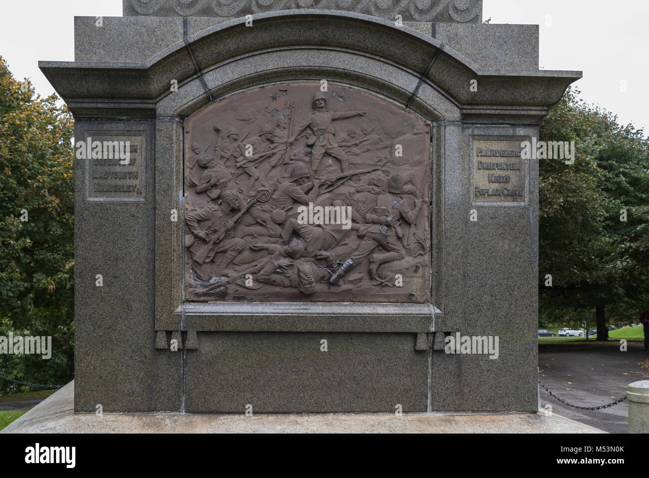 Relief panel of the Boar War Memorial, Plymouth - Stock Image