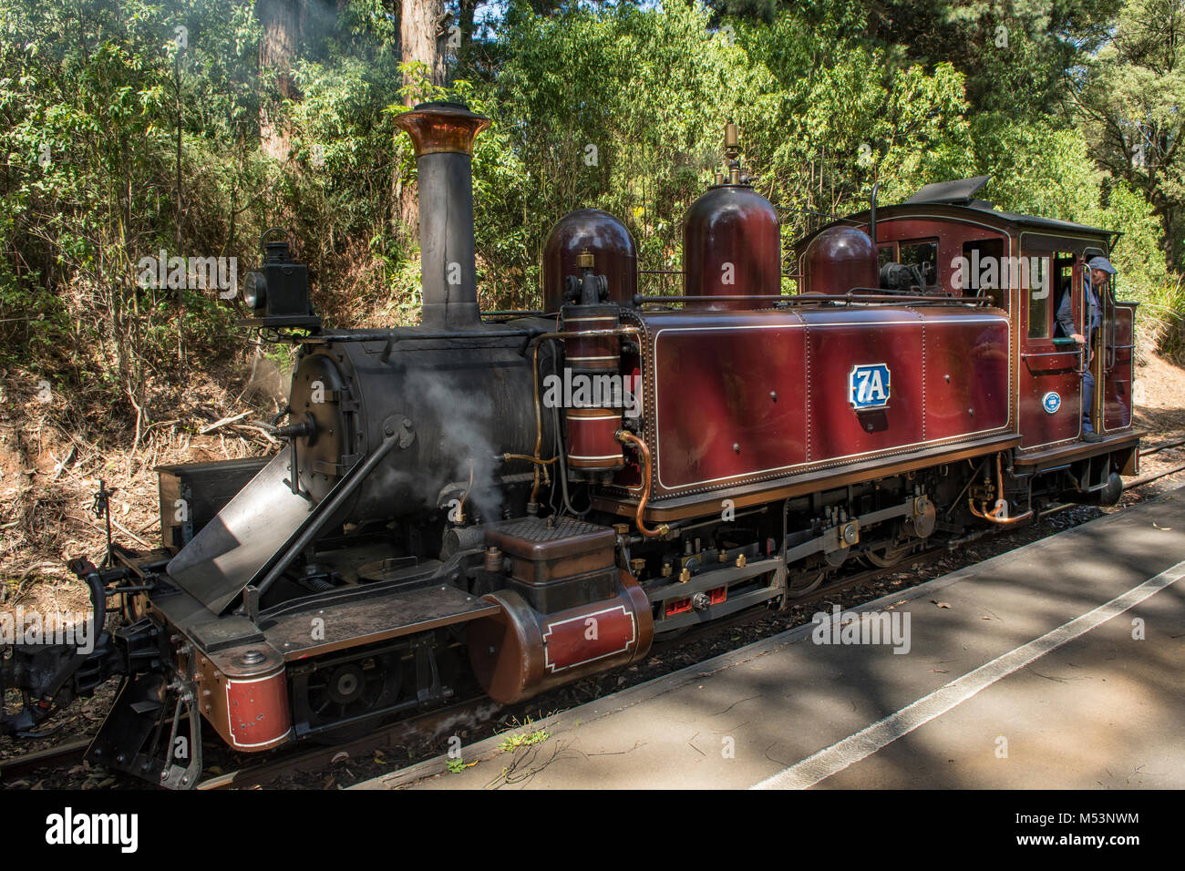 Puffing Billy Steam Locomotive No. 7A at Lakeside, Victoria, Australia - Stock Image