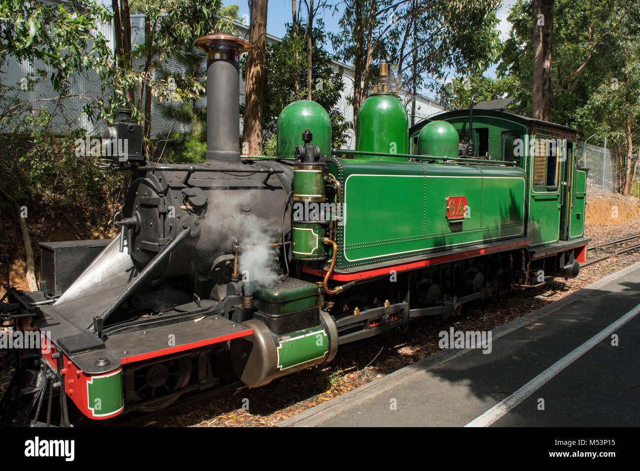 Puffing Billy Steam Locomotive No. 6A at Mezies Creek, Victoria, Australia - Stock Image