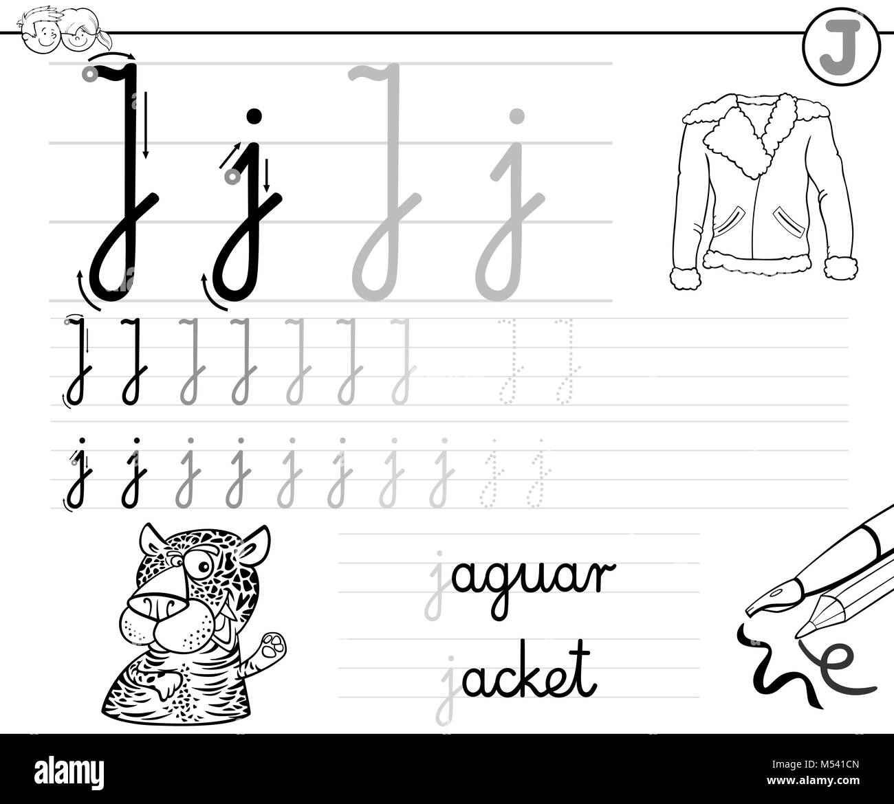 learn to write letter J workbook for kids - Stock Image
