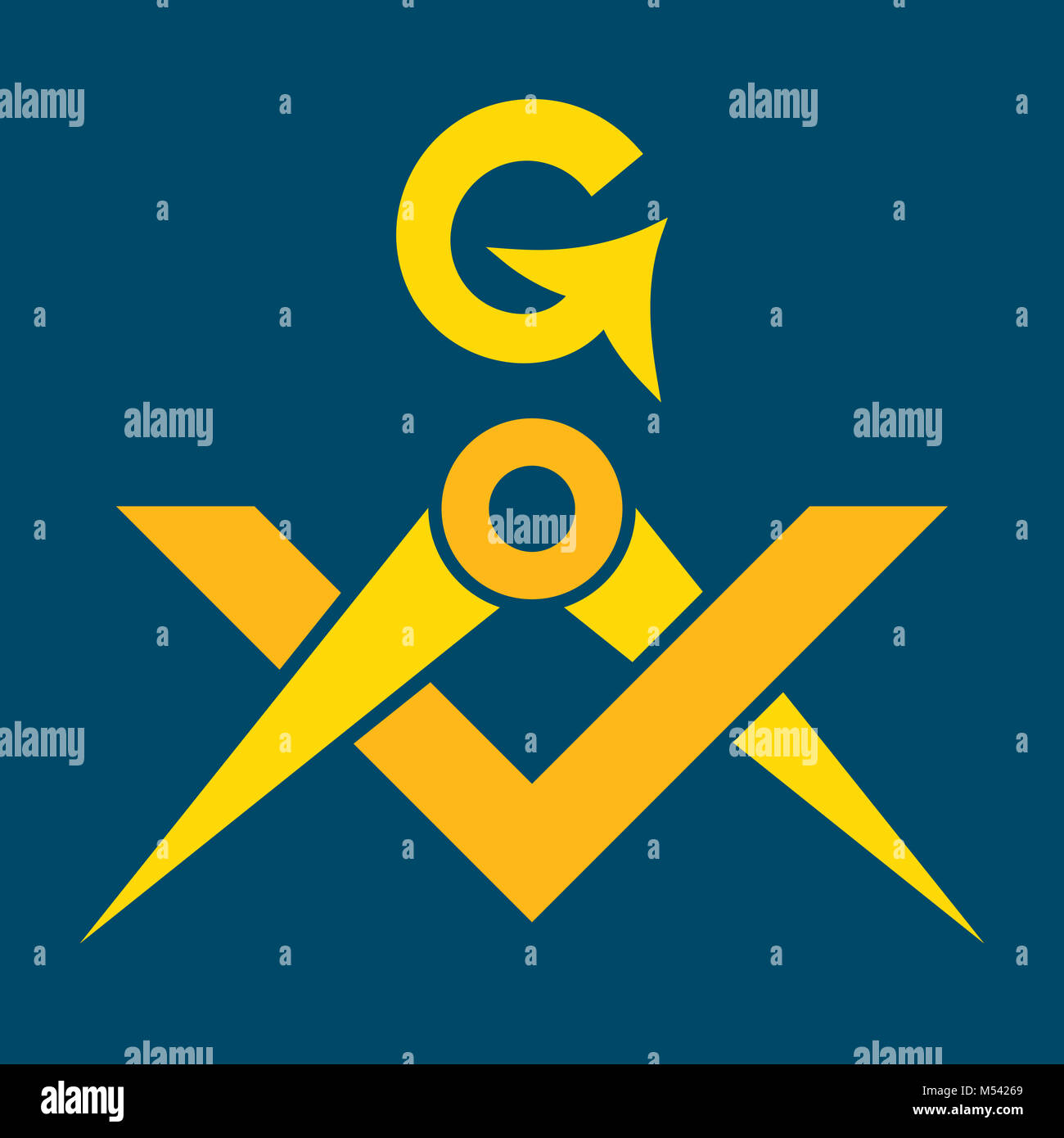 Masonic Square and Compasses (Sacral Emblem of Secret fraternity) Stock Photo