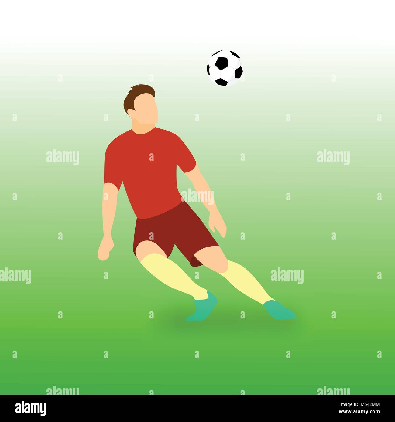 Control Incoming Ball Football Player Vector Illustration Graphic Design - Stock Vector