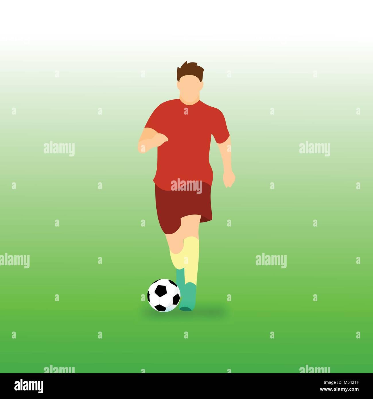 Dribbling Ball Football Soccer Player Vector Illustration Graphic Design - Stock Vector