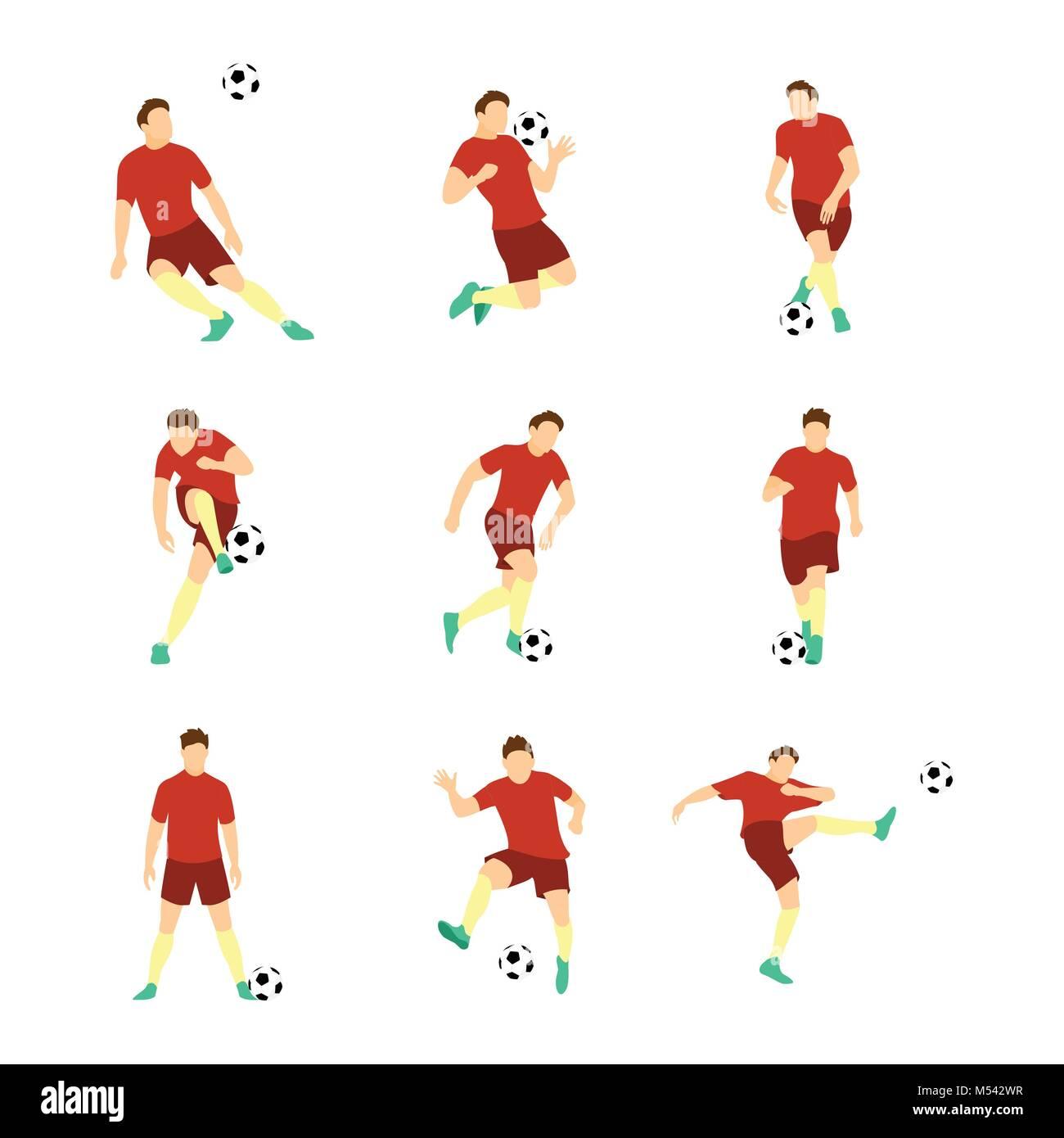 Various Football Soccer Player Vector Illustration Graphic Design Set - Stock Vector