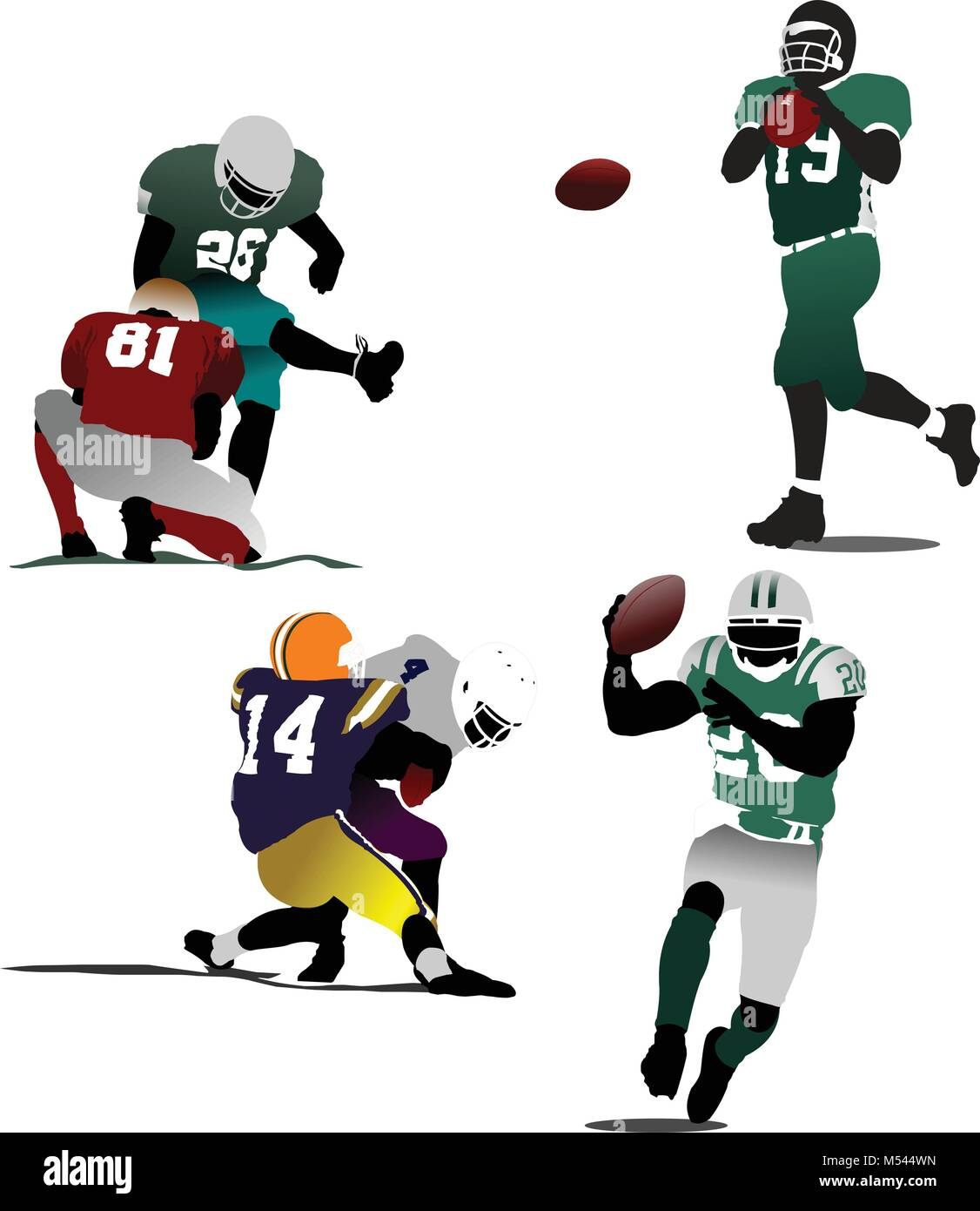 American football  silhouettes in action. Vector illustration - Stock Vector