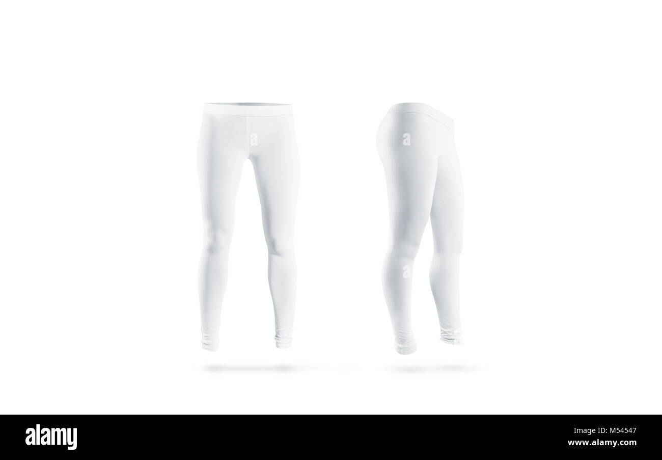 Blank white leggings mockup, front and side view, isolated. Clear leggins mock up template. Cloth pants design presentation. - Stock Image