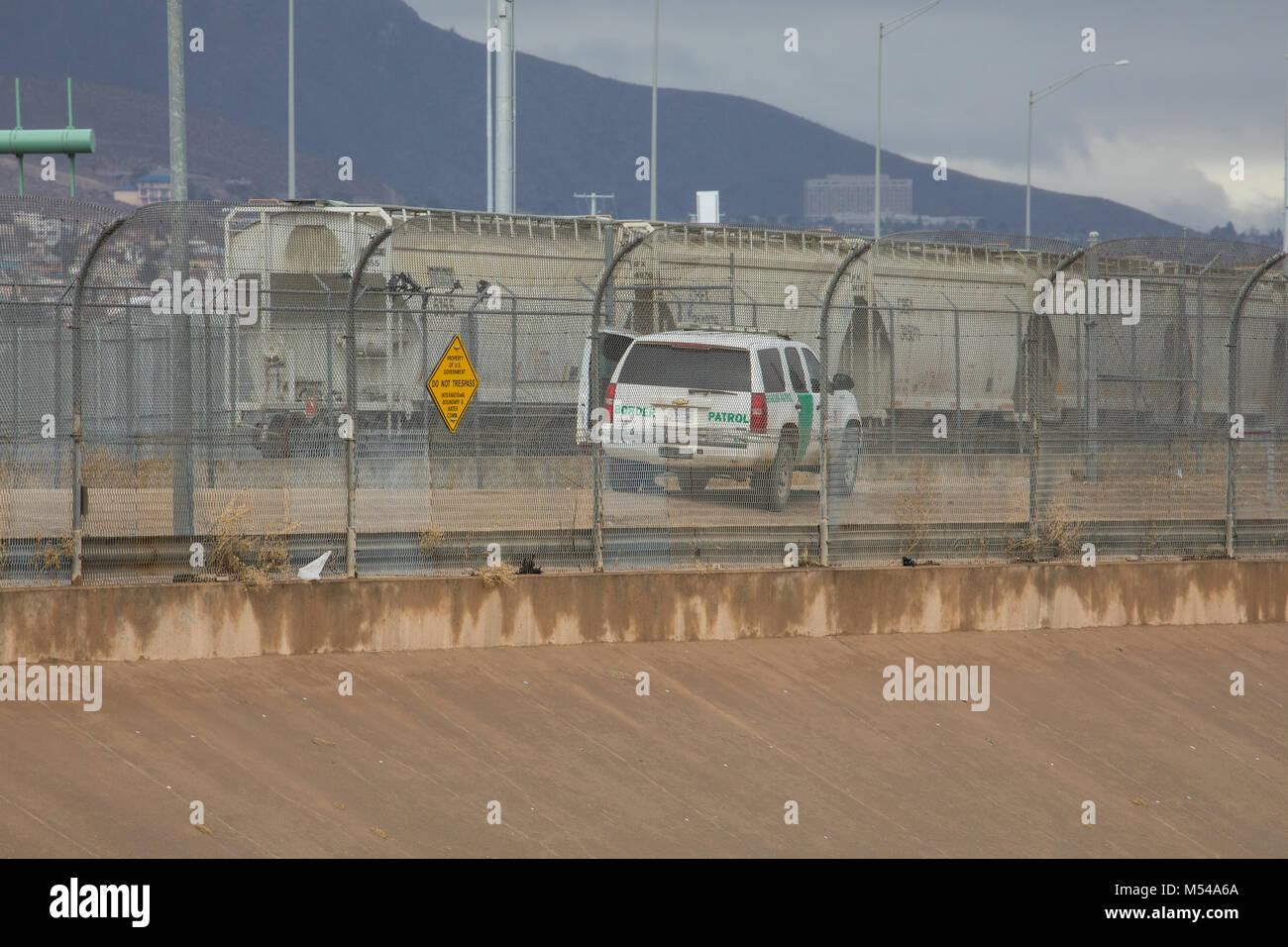 El Paso Border Fence Stock Photo