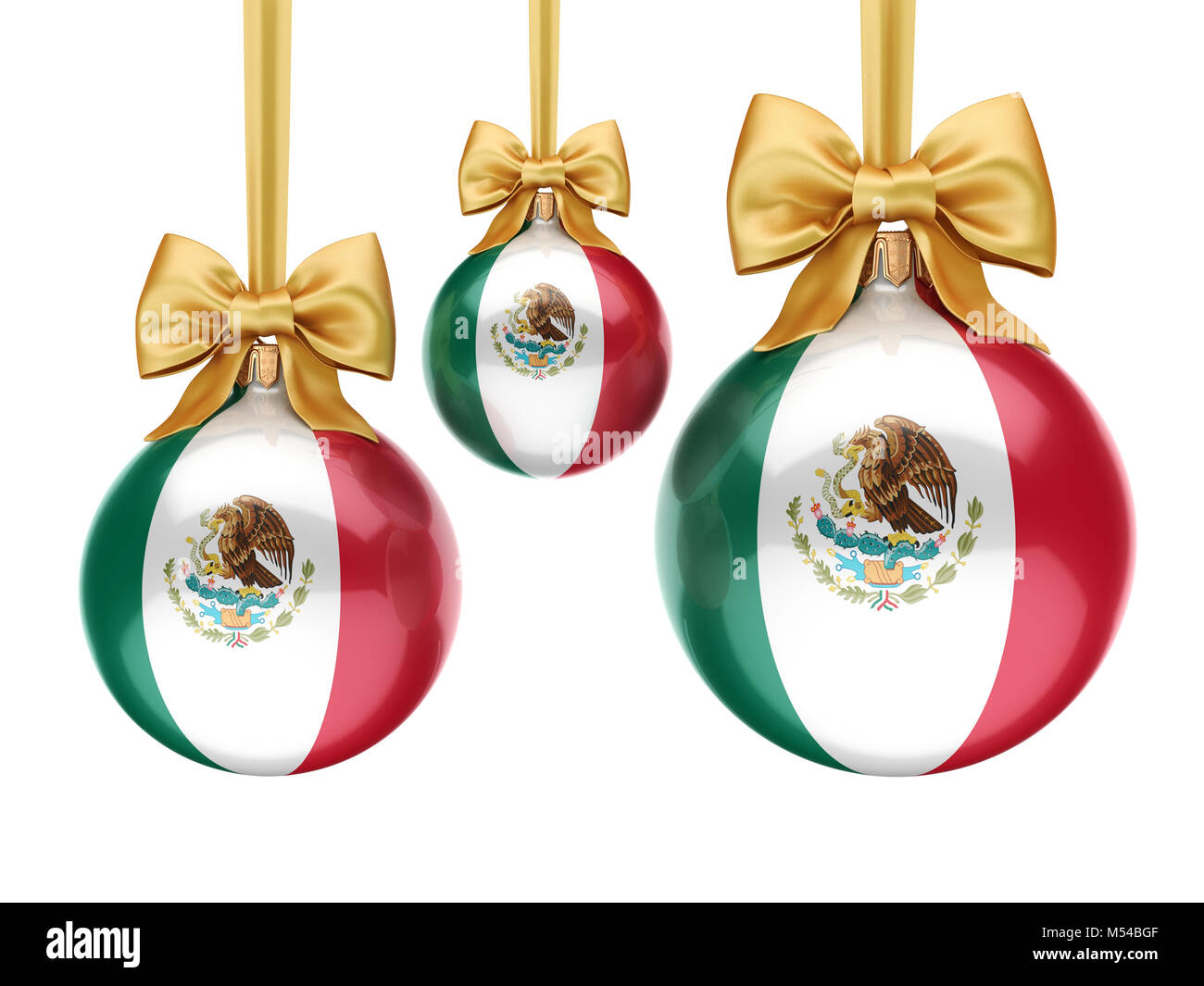 3D rendering Christmas ball with the flag of Mexico - Stock Image