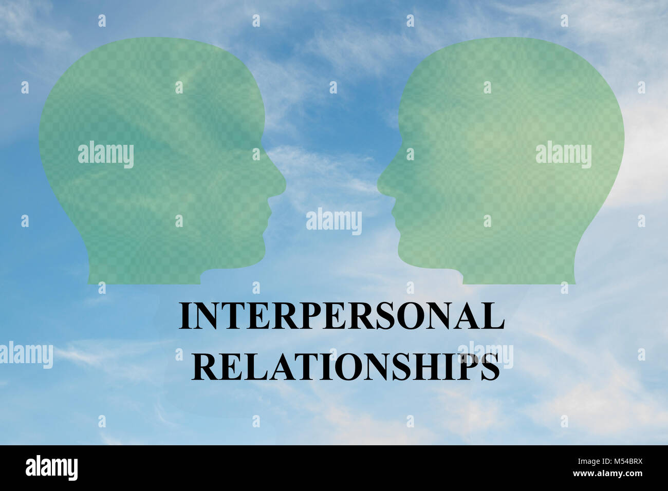 Render illustration of INTERPERSONAL RELATIONSHIPS title under two head silhouettes, with cloudy sky as a background. - Stock Image
