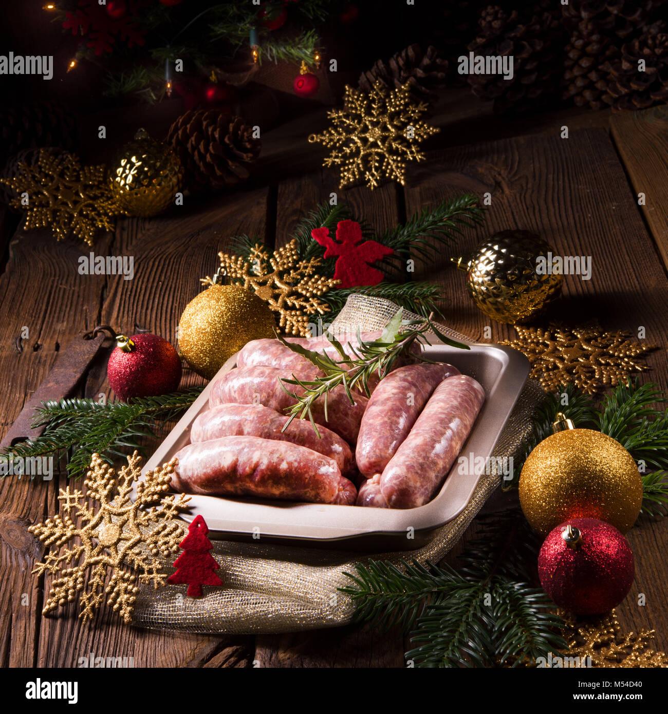 fresh homemade sausage - Stock Image