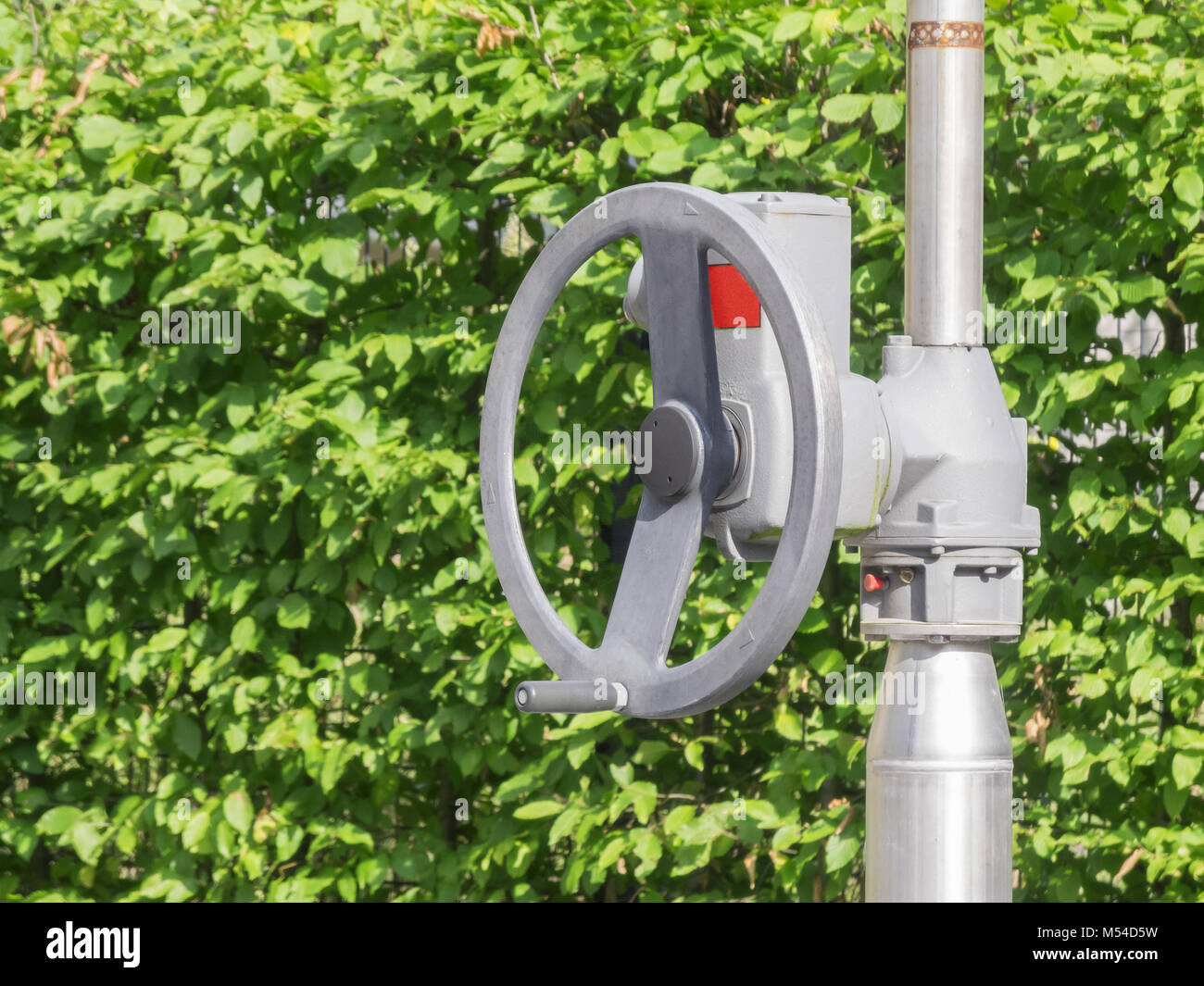 Handwheel in front of green leaves - Stock Image