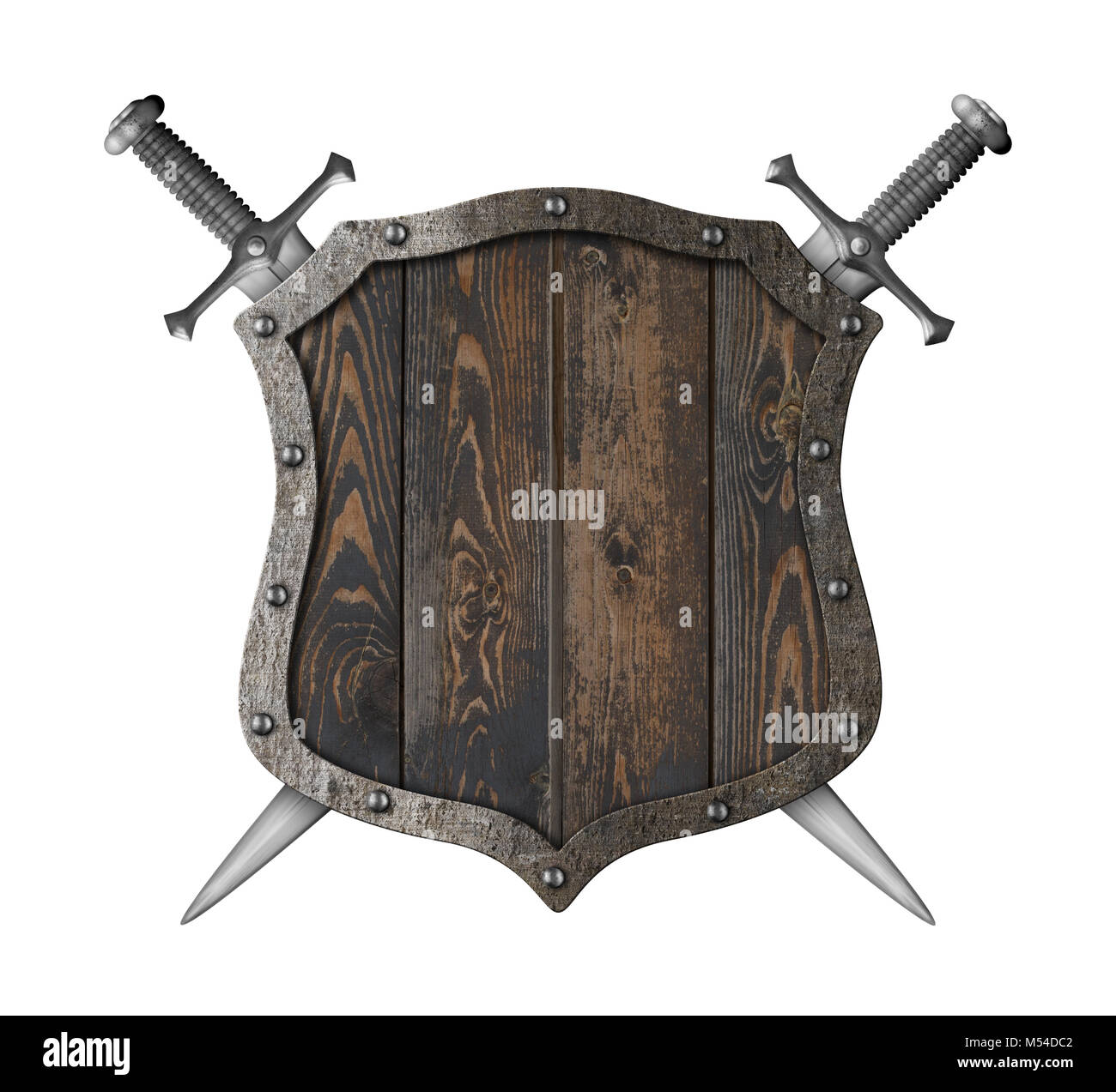 Wooden medieval heraldic shield with crossed swords 3d illustration - Stock Image