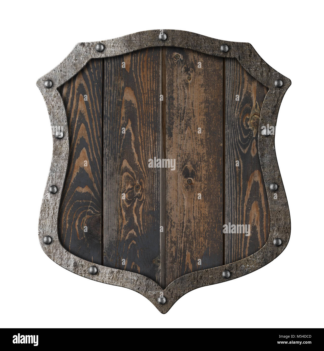 Wooden medieval heraldic shield isolated 3d illustration - Stock Image