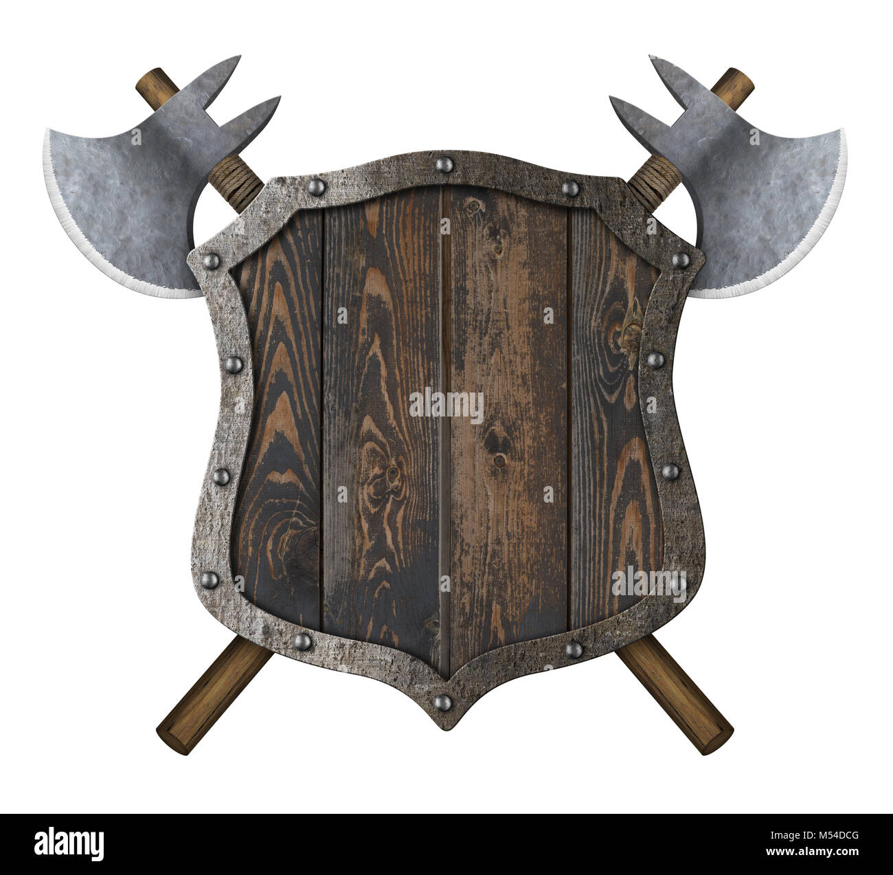 Wooden medieval heraldic shield with crossed battle axes 3d illustration - Stock Image