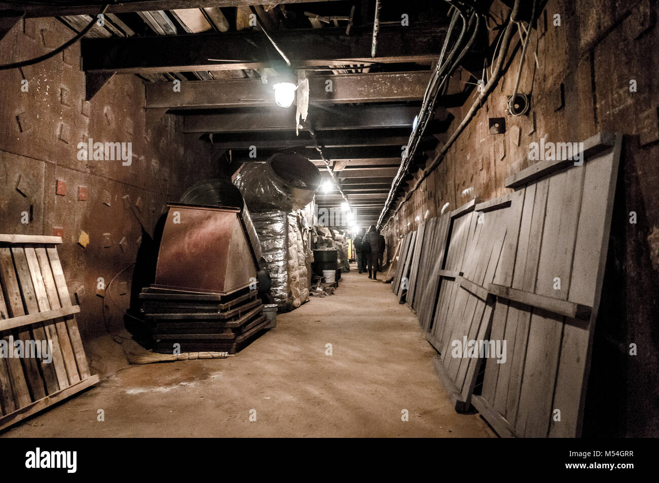 Moscow, Russia - October 25, 2017: Tunnel at Bunker-42, anti-nuclear underground facility built in 1956 as command - Stock Image