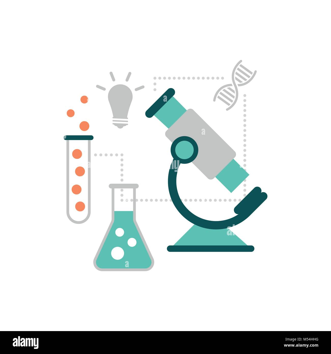 Science and research concept microscope test tube and icons stock science and research concept microscope test tube and icons ccuart Images