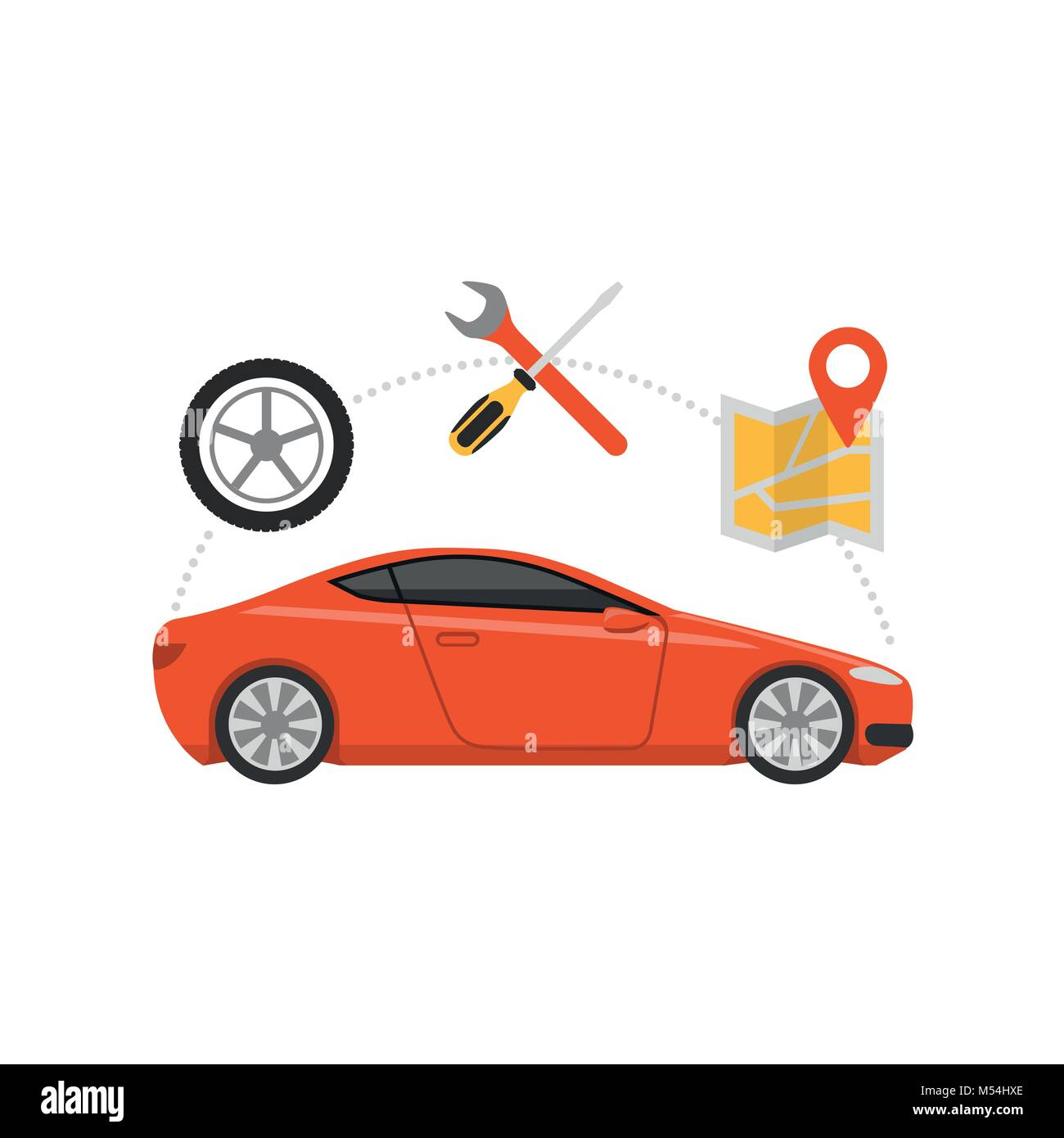 Car servicing and gps navigation, automotive and roadside assistance concept - Stock Image