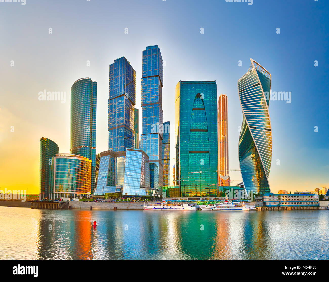 Moscow City Skyline Moscow International Business Centre At Day Time With Moskva River In Foreground Stock Photo Alamy
