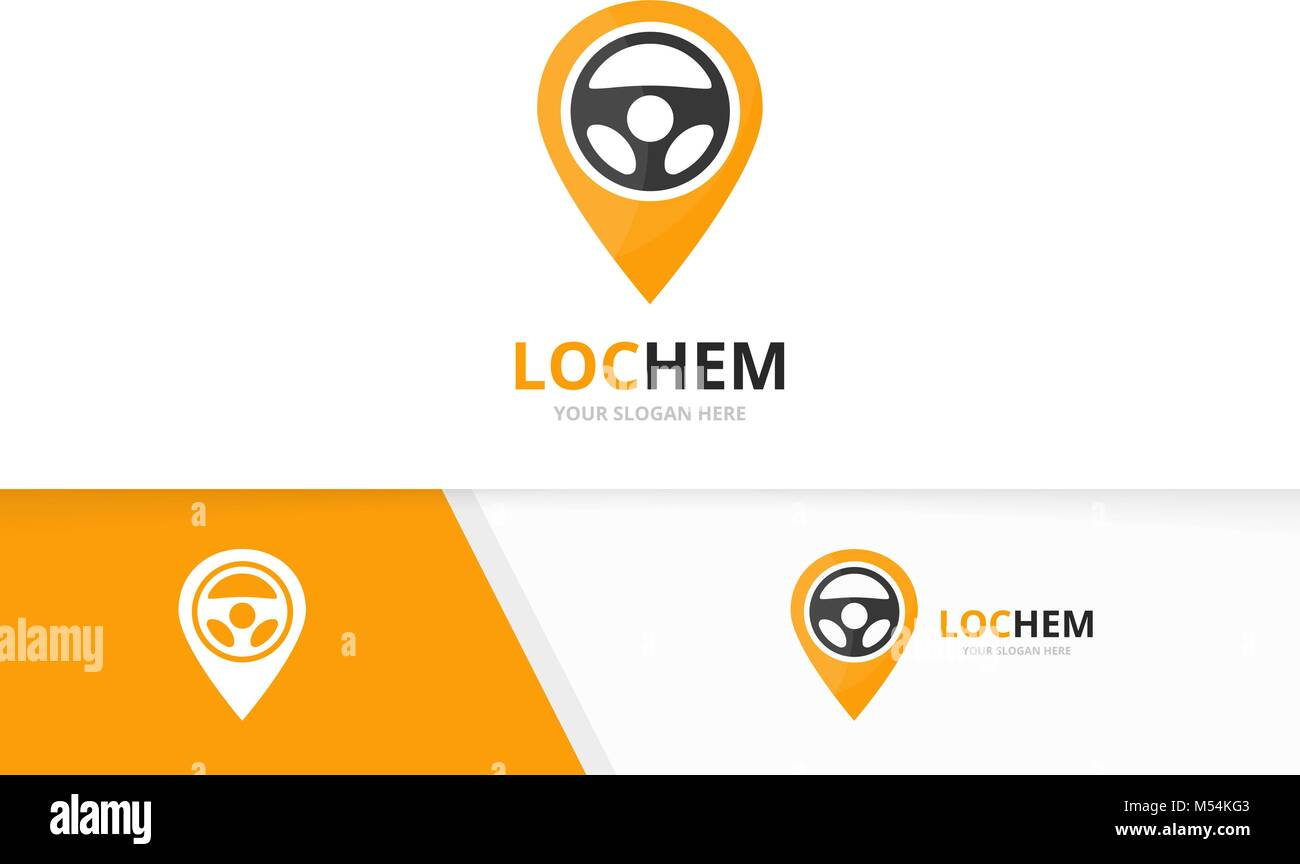 Vector car helm and map pointer logo combination. Steering wheel and gps locator symbol or icon. Unique rudder and - Stock Vector