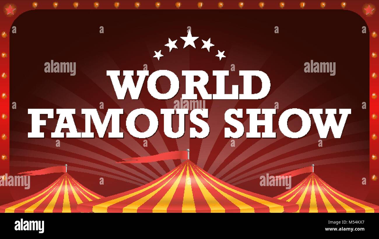 Circus Poster Template Vector Tent Background Classic Big Top Amusement Park Party Arts Festival Illustration