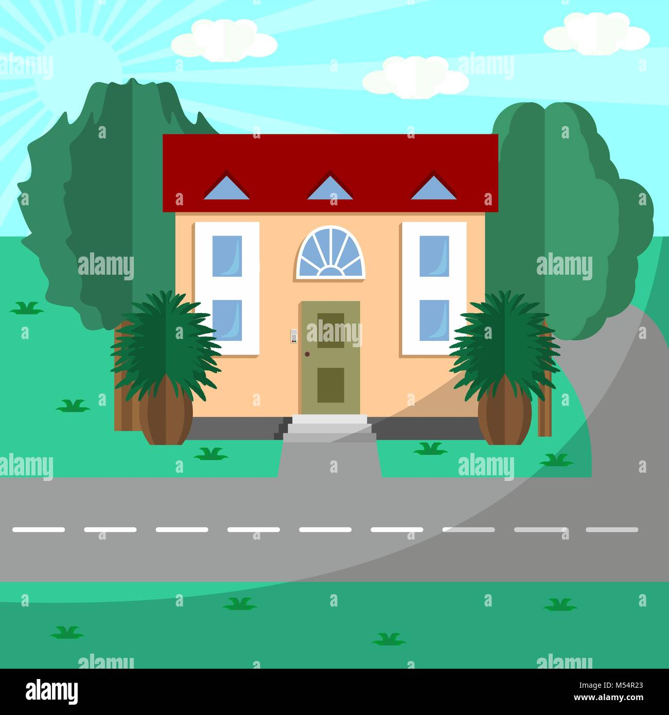 House by the road among green trees - Stock Vector