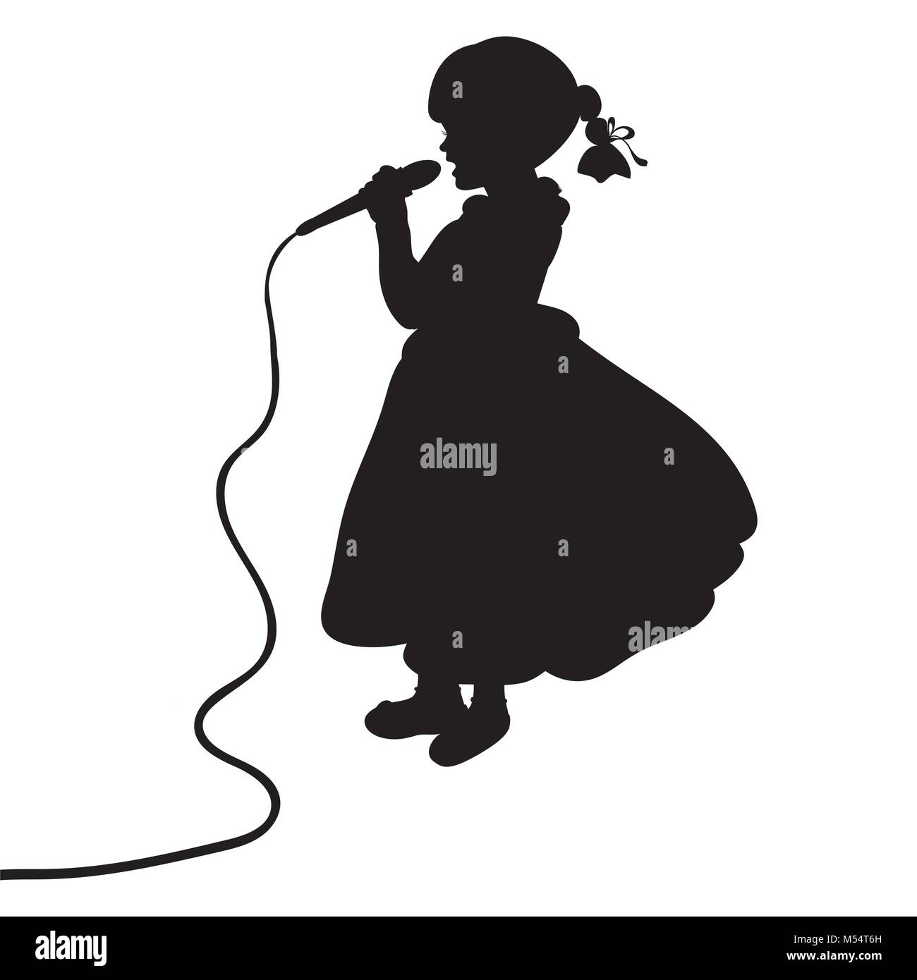 Silhouette girl music sings in microphone - Stock Vector