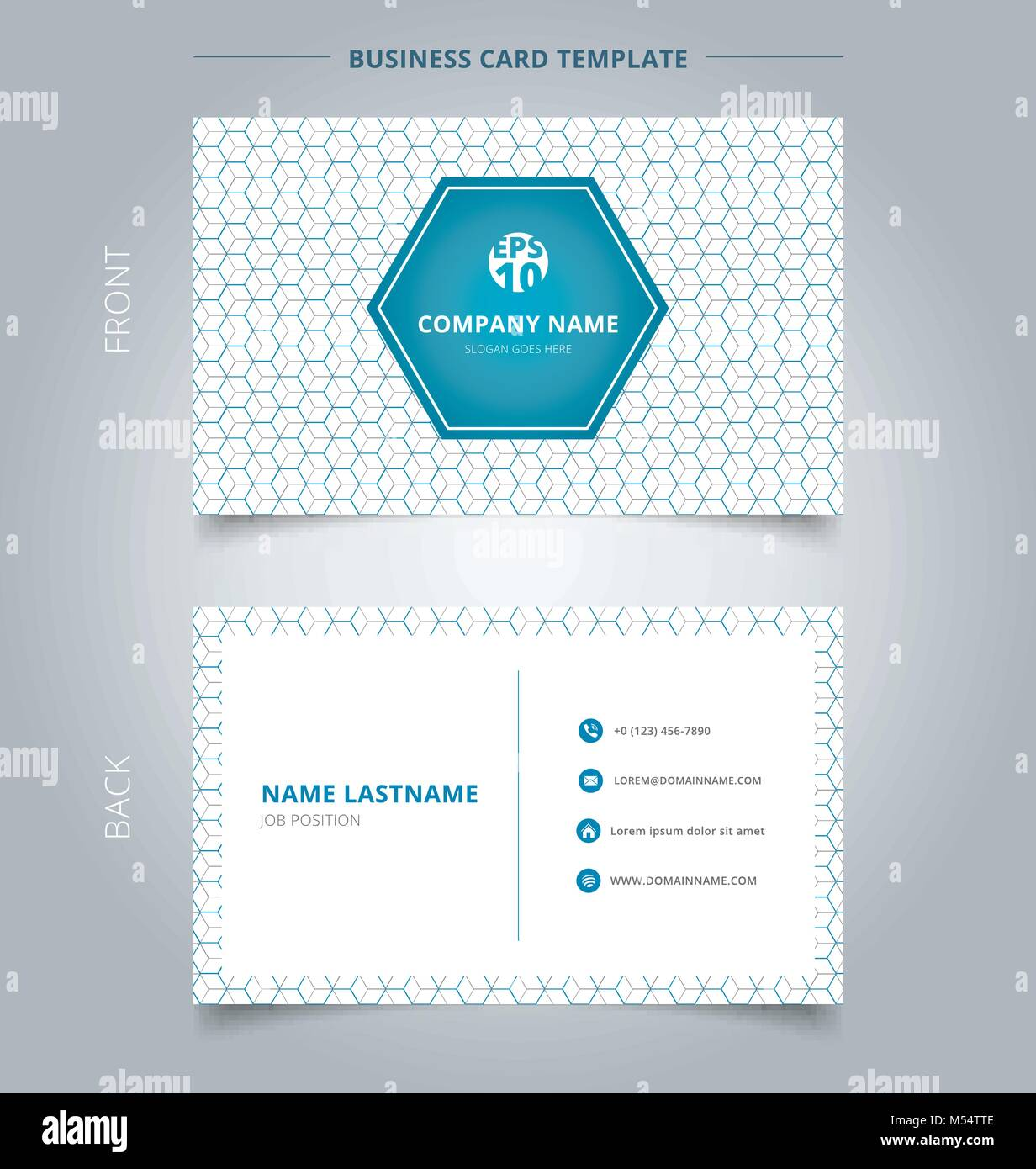 Creative business card and name card template geometric blue, gray ...