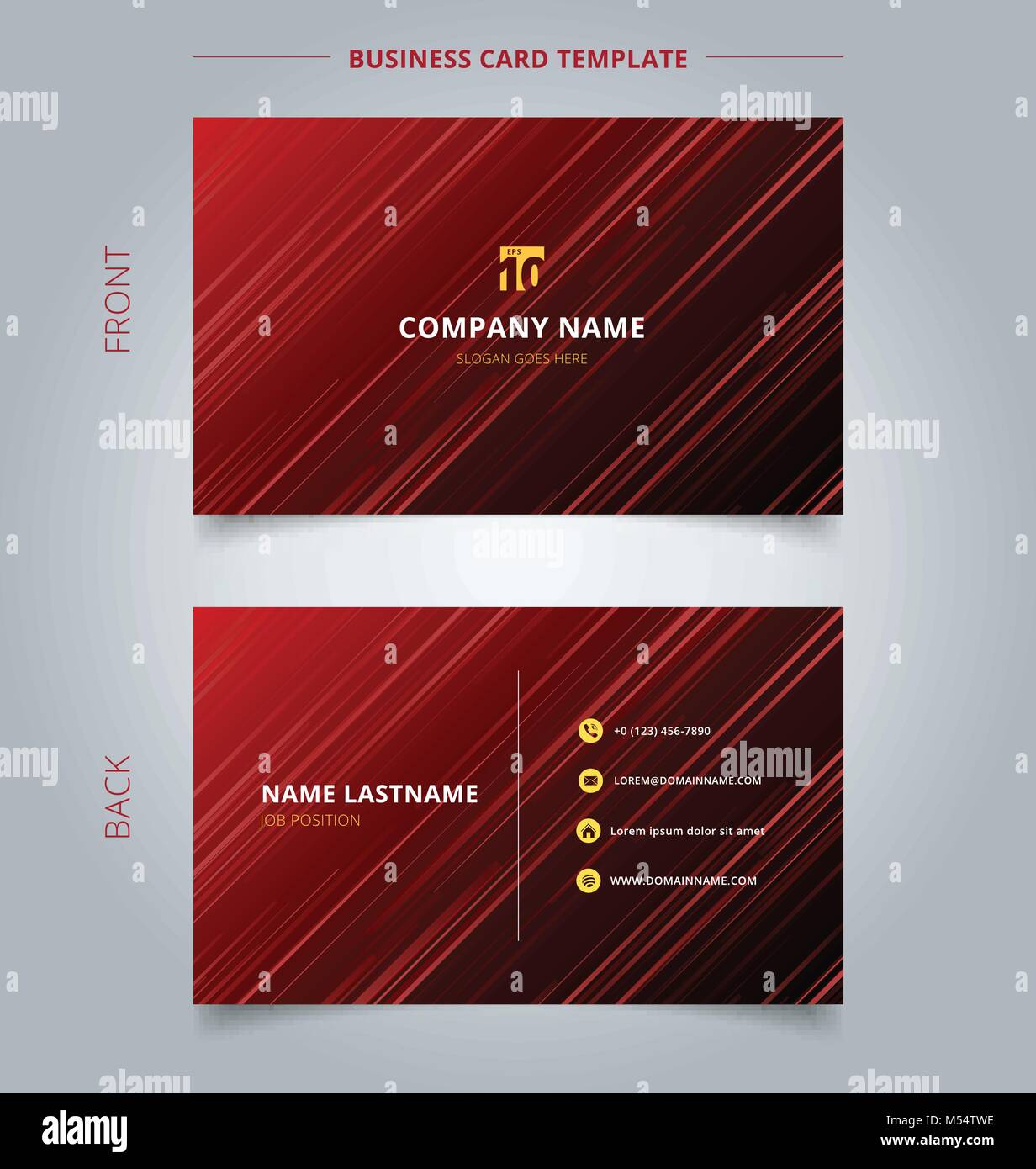 Creative business card and name card template technology red laser ...