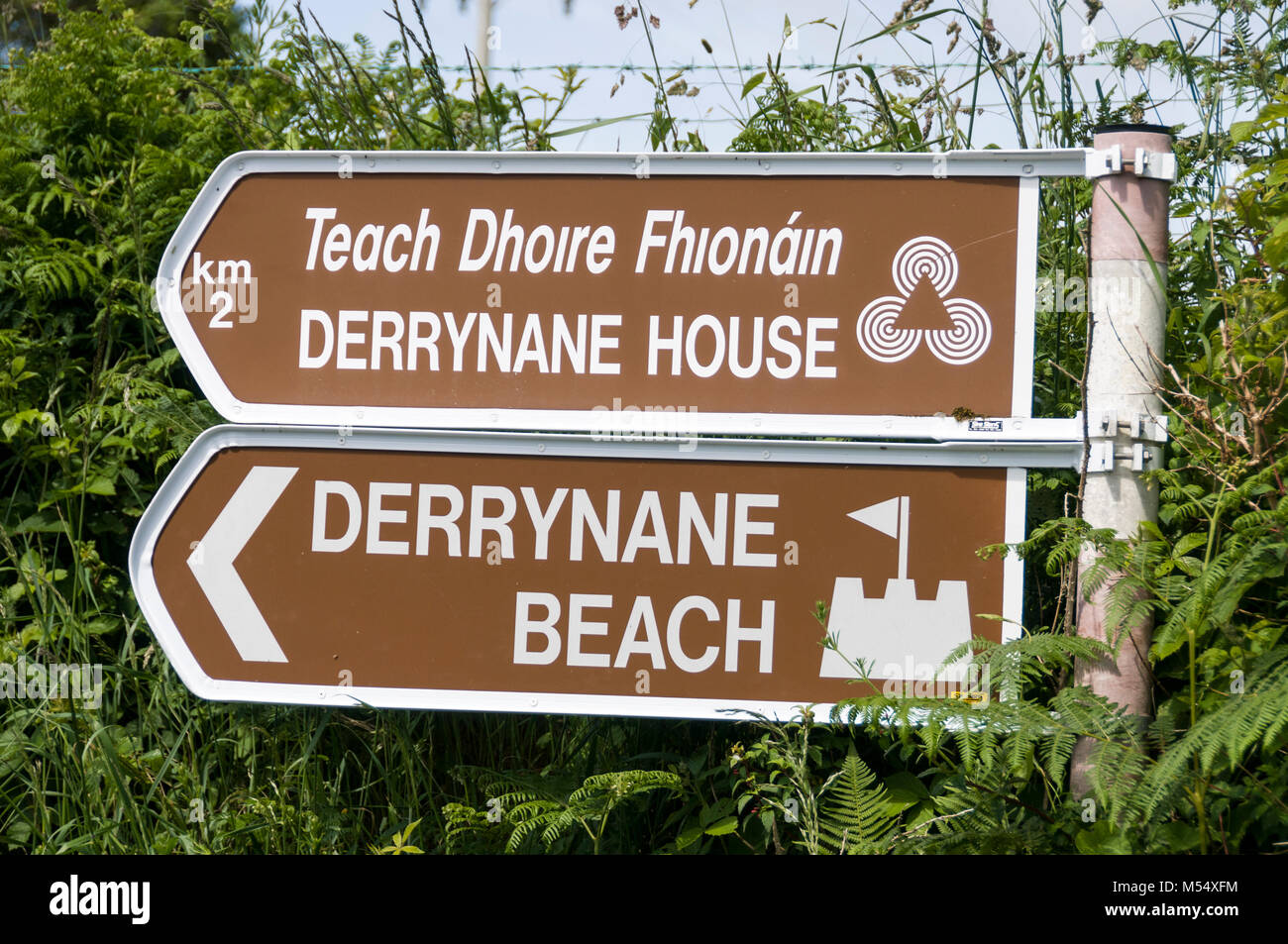 A tourist attraction road sign on the Kerry Ring in Southern Ireland. - Stock Image