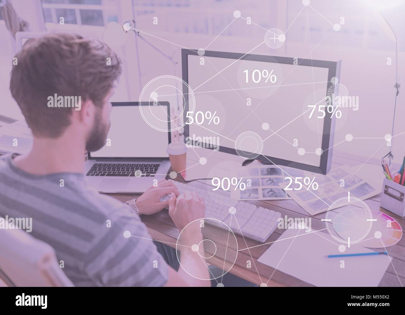 Business Overlay Interface with man and computer Stock Photo