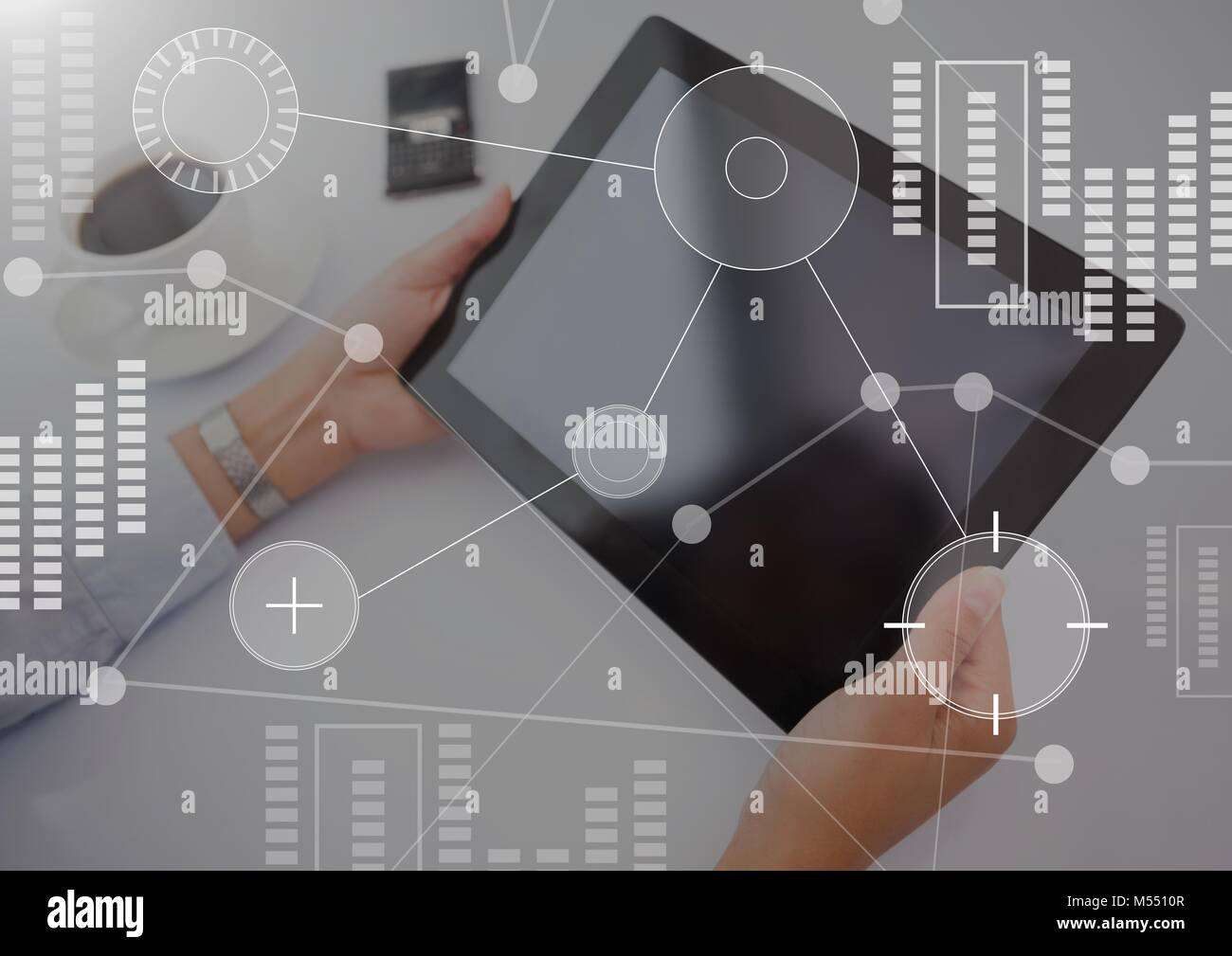Business Overlay Interface with hands and tablet Stock Photo
