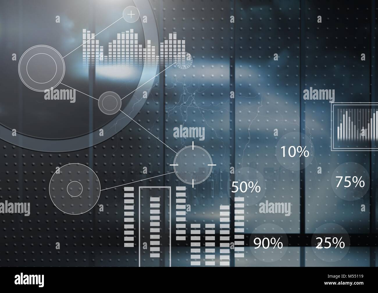 Interface overlay of connection statistics graphics with dark technology background Stock Photo
