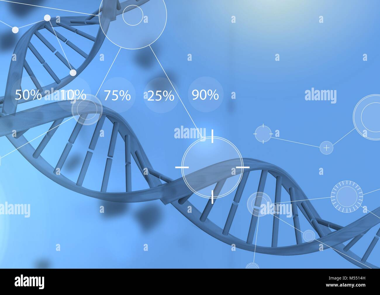 Interface overlay of connection statistics graphics with medical science DNA genetics background - Stock Image