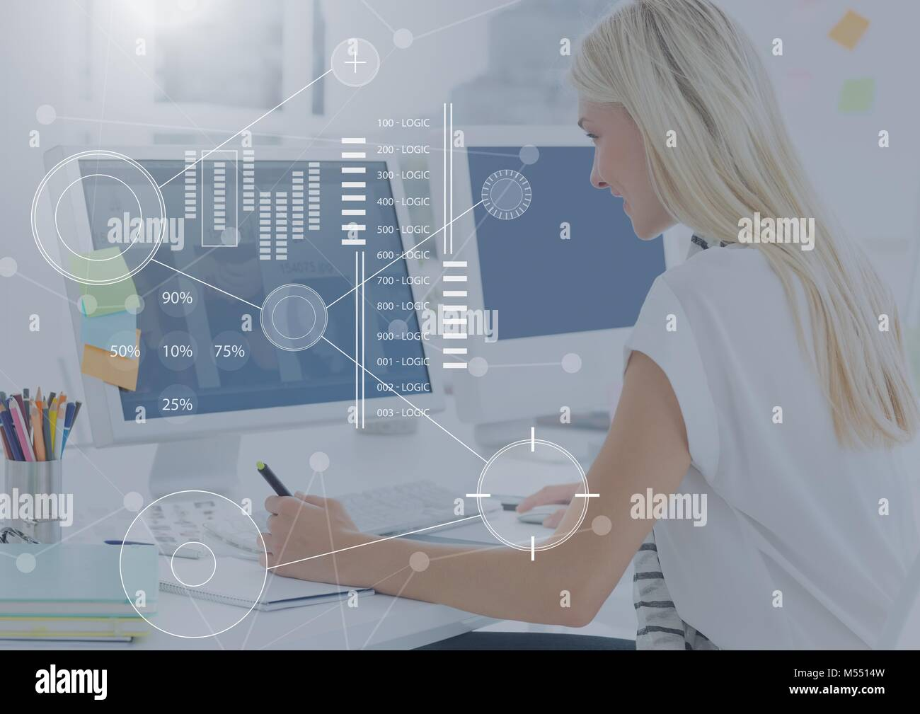 Business Overlay Interface with businesswoman and computers Stock Photo