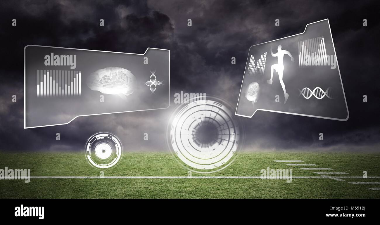 Human health and fitness interface and green sports field background Stock Photo