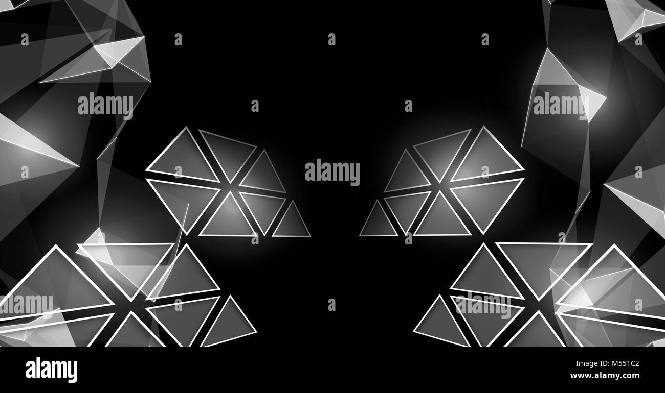 Triangle polygons glowing in darkness - Stock Image